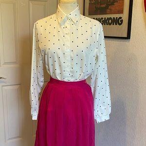 Vintage lady Arrow blue polka dot blouse